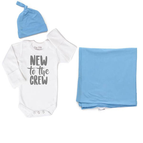 New to the Crew Onesie, Baby Blue hat and swaddle