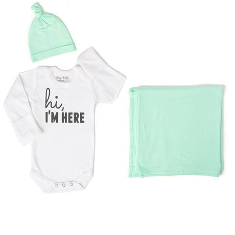 Hi, I'm Here Onesie, Mint hat and swaddle