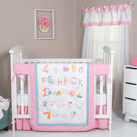 Alphabet Cake 4 Piece Crib Bedding Set