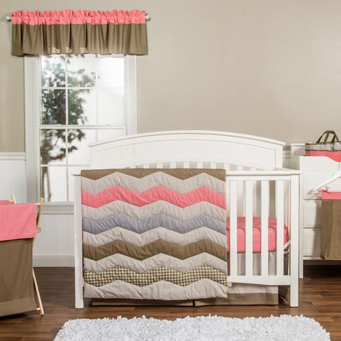 Cocoa Coral 3 Piece Crib Bedding Set