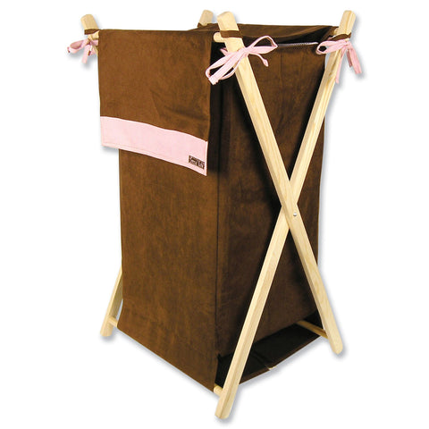 Brown & Pink Ultrasuede Hamper Set