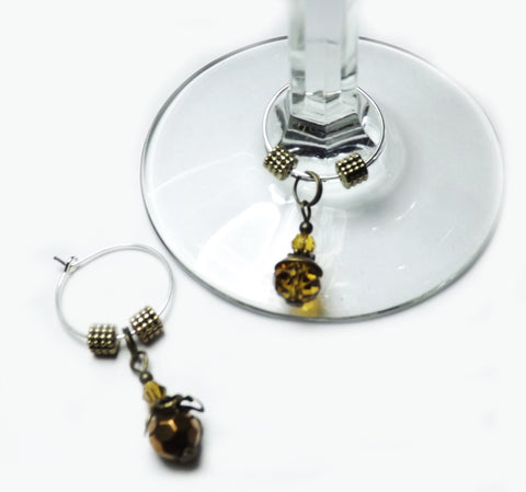 Gold Bauble Wine Glass Charm