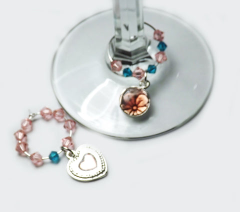 Pink Swarovski Wine Glass Charm