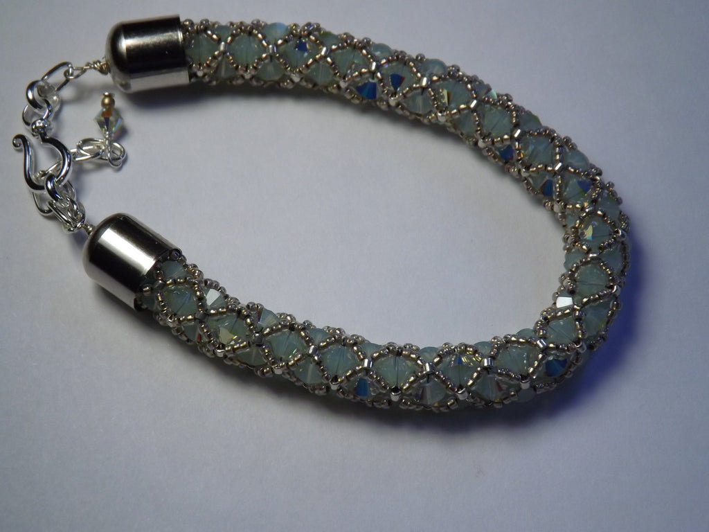 Swarovski Seafoam Green Crystal and Glass Beaded Bangle