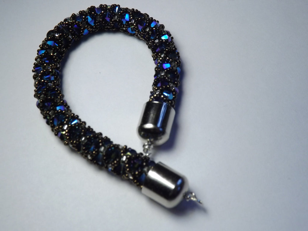Swarovski Royal Blue Crystal and Glass Beaded Bangle