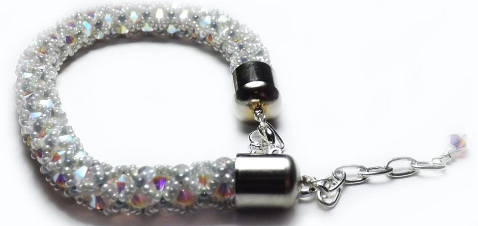 Swarovski White Crystal and Glass Beaded Bangle
