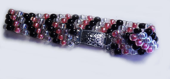 Pink, White and Black Glass beaded Cuff Kit