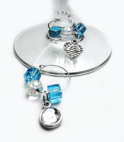 Blue Glass Beaded Wine Glass Charms Set