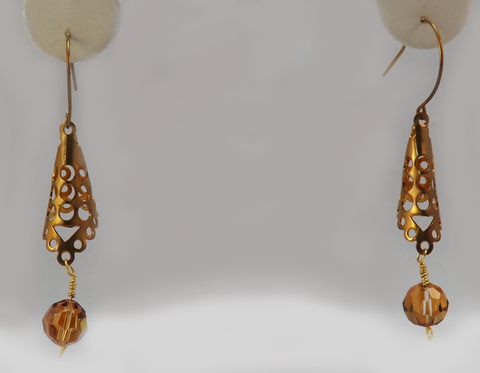 Brass Filligree Earrings With Swarovski Bead