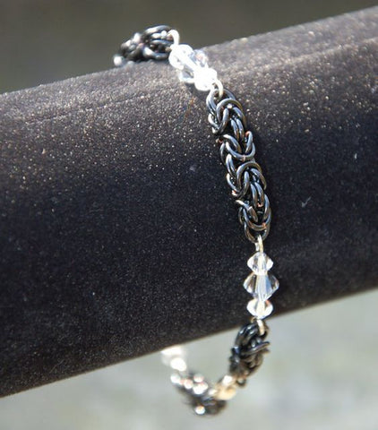 Byzantine Chainmaille Bracelet with Swarovski Crystal Accents