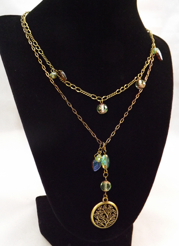 Brass & Glass Beaded 2 Strand Necklace