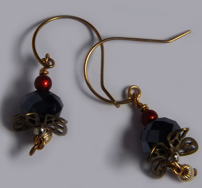 Red and Black Crystal Beaded Earrings with vintage findings