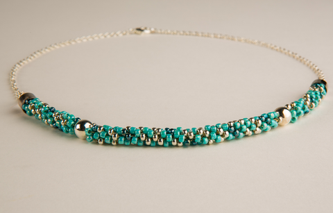 Turquoise & Teal Glass Beaded Necklace with Silver Accents - Kumihimo Necklace