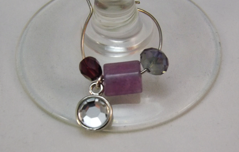 Violet Spring Wine Charms - Set of 2