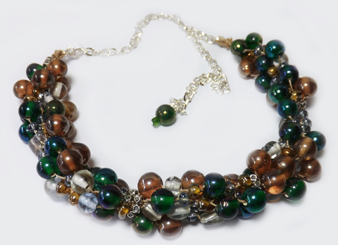 Vintage Glass Bead Necklace - Kumihimo Necklace