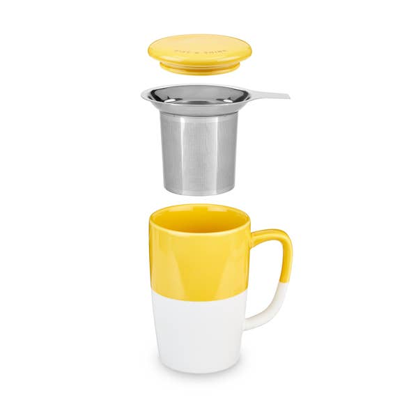 Delia™ Yellow Tea Mug & Infuser by Pinky Up®
