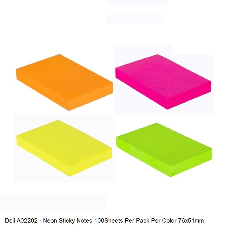 Memo Stick 3X2 100Sheet Neon Assorted-A02202 ( 4 pieces pack )