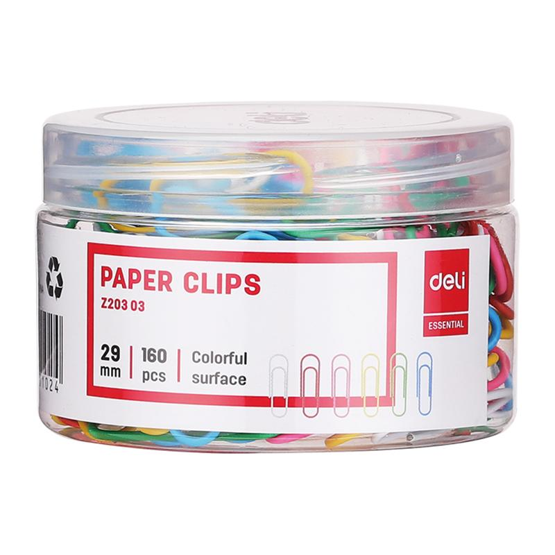 Paper Clip 29 Mm Color 160 Pcs Plastic Case-Z20303