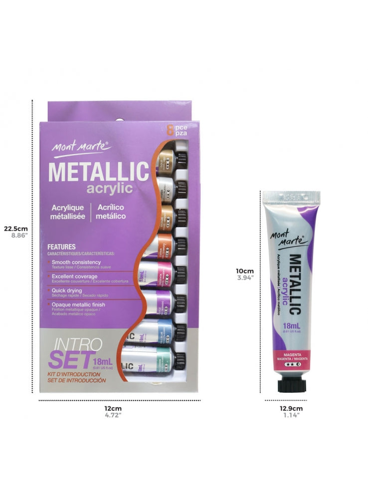 Acrylic Color Metalic Intro Set 8x18ml-PMMT8181