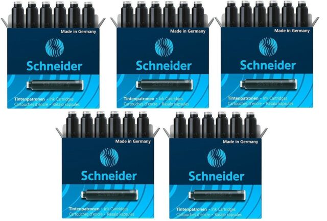 Schneider Ink Cartridge Erasable Black-6601-6 Pcs Set x 5 Pack