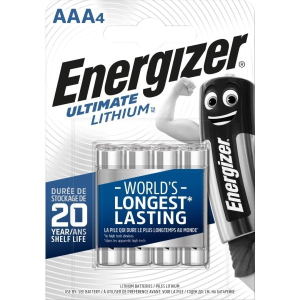 Energizer Ultimate Lithium AAA Batteries L92 1.5V Pack of 4