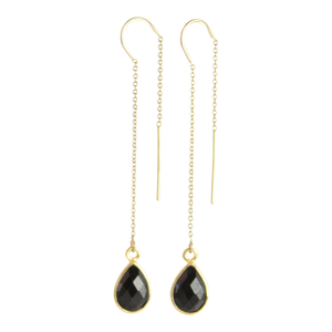 Gemstone Drop Earrings-Black Spinel