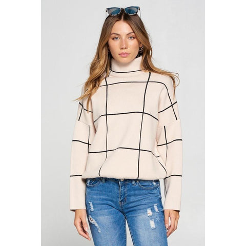 Grid Mock Neck Pullover