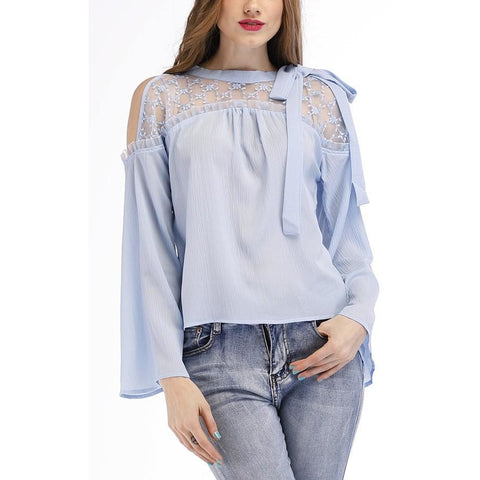 Embroidered Cold Shoulder Mesh Blouse - Janet and Jo