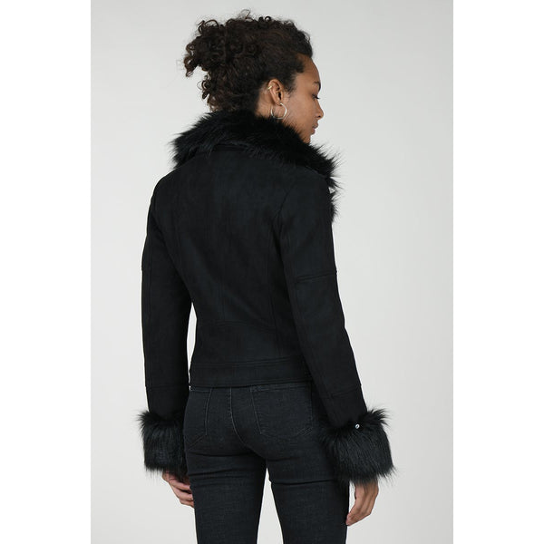 Ladies Woven Jacket with Fur Collar and Cuffs