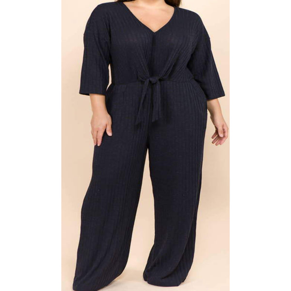 Cozy Knit Jumpsuit- Navy - Janet and Jo