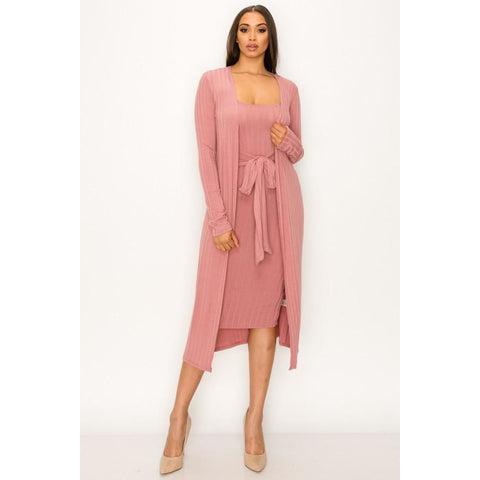 Soft Midi Length Tank Dress and Cardigan