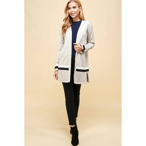 Long Sleeve Oatmeal Cardigan with Grommet Detail - Janet and Jo