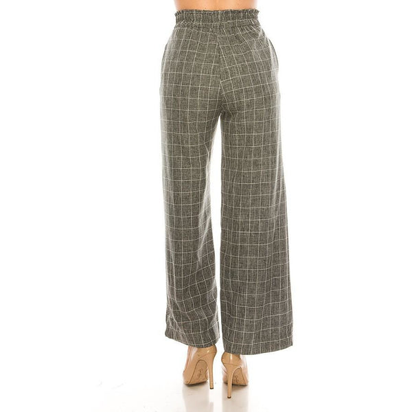 Banded Waist Wide Leg Pants - Janet and Jo