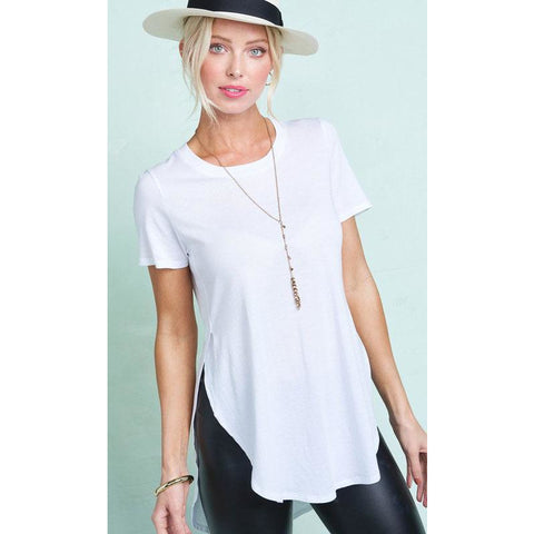 Split Side Round Neck T-Shirt - Janet and Jo