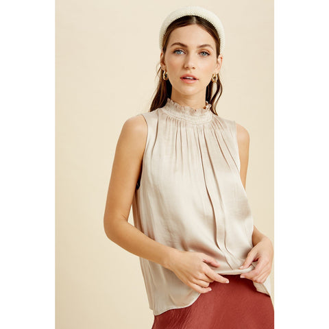 Smocked Neck Satin Blouse - Janet and Jo