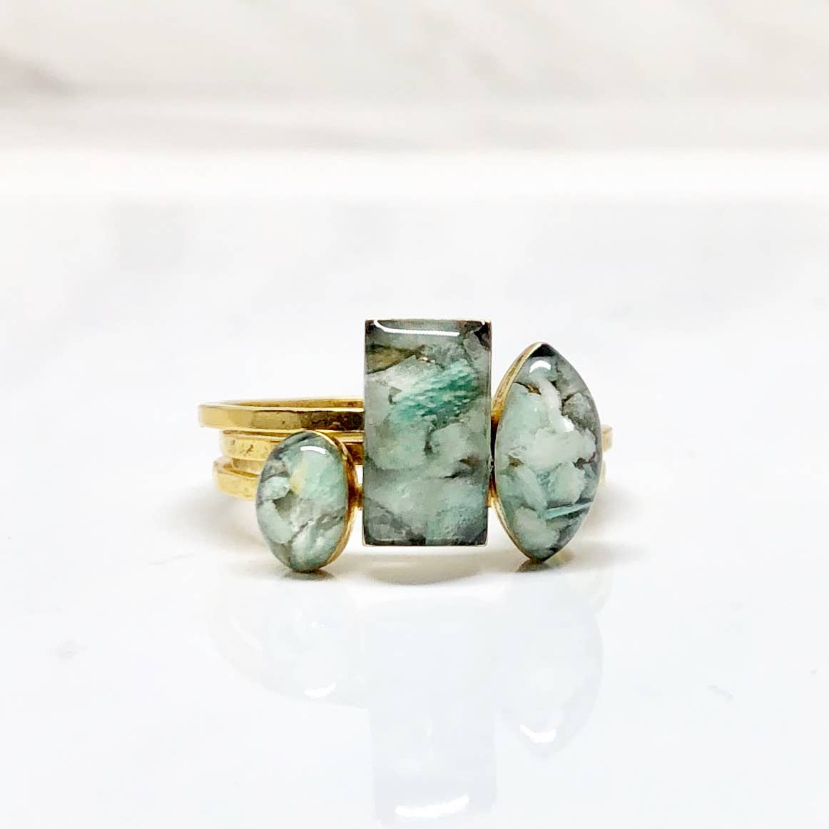 Amazonite Ring Trio - Janet and Jo