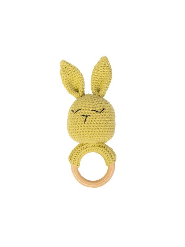 Rabbit Apple Green Rattle (By Baboo)