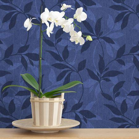 Debbie McKeegan Leafy Denim Scroll Wallpaper - Indigo by Harley & Lola