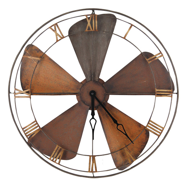 Pacific Lifestyle Fan Design Round Metal Wall Clock by Harley & Lola