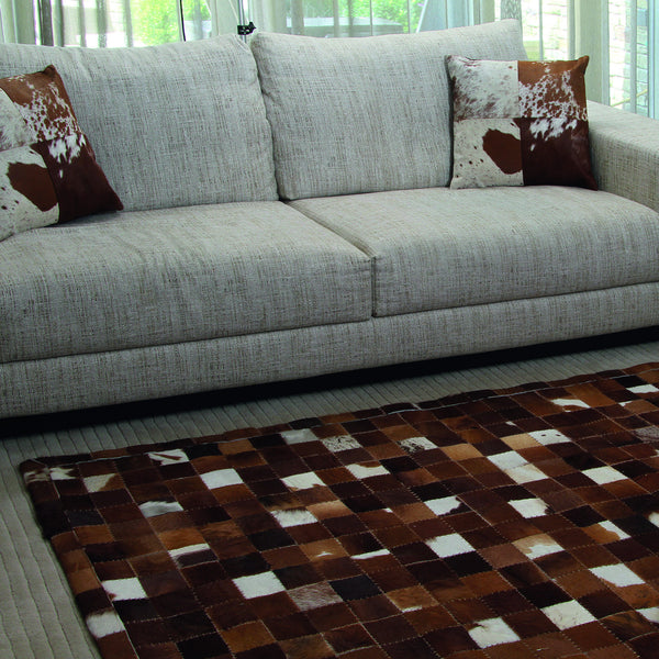 Ivory & Brown Cow Hide Leather Rug by Harley & Lola