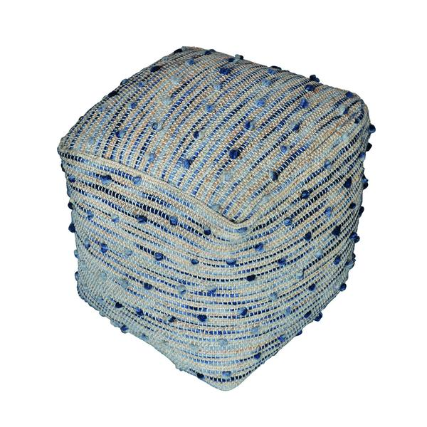 Berries Natural & Blue Wool & Jute Pouffe by Harley & Lola