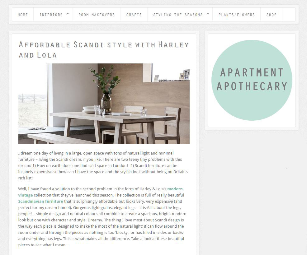 Apartment Apothecary, Affordable Scandi Style with Harley & Lola 3rd October 2016