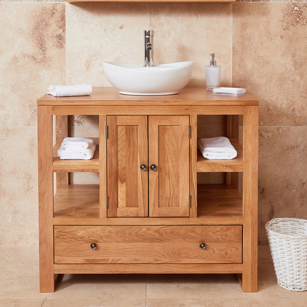 Baumhaus Mobel Solid Oak Two Door Single Sink Unit (Round) by Harley & Lola