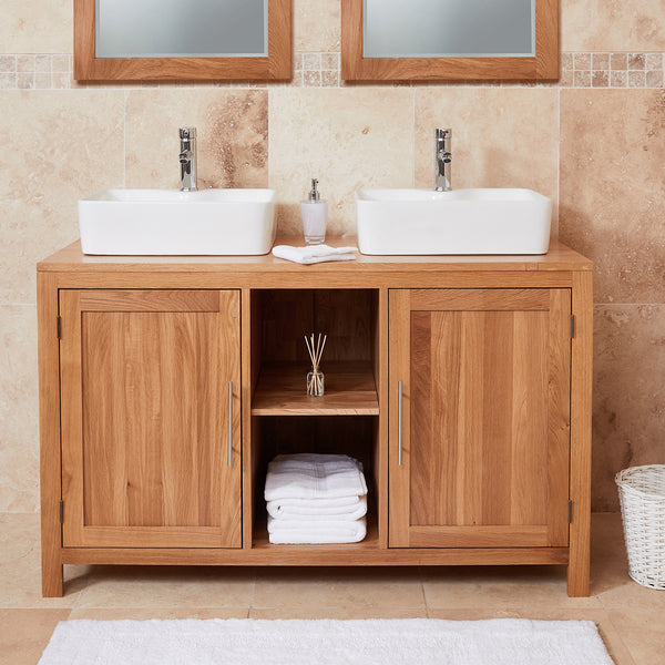 Baumhaus Mobel Solid Oak Dual Sink Unit with Two Doors (Square) by Harley & Lola