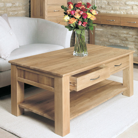 Baumhaus Mobel Oak Four Drawer Coffee Table by Harley & Lola
