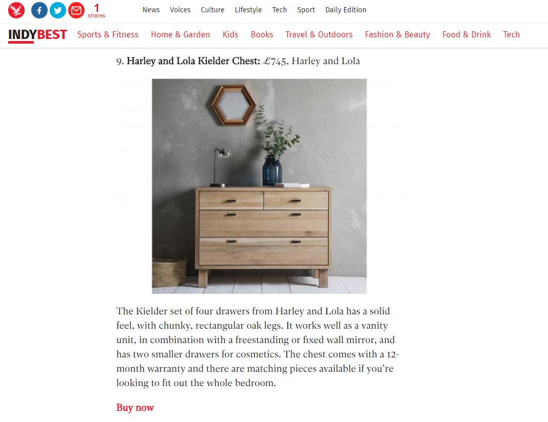 Independent Online, 10 Best Chest of Drawers, 13th October 2016