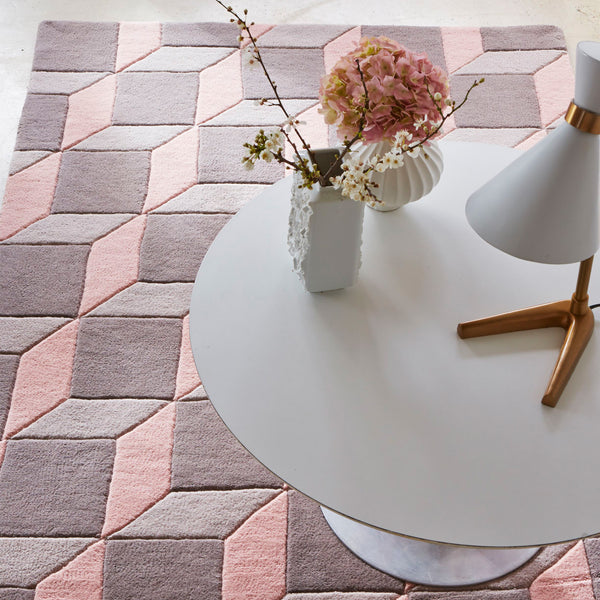 Plantation Rug Co. Geometric Cube Grey and Pink by Harley & Lola