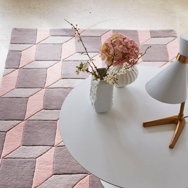 Plantation Geometric Cube Grey and Pink Rug by Harley and Lola