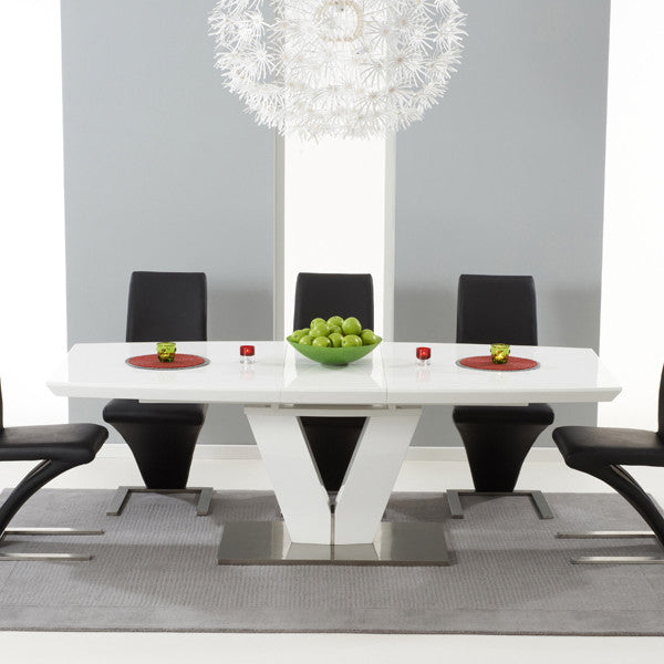 Malibu 180cm Extending White High Gloss Dining Table