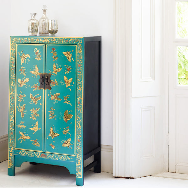 Baumhaus The Nine Schools Oriental Decorated Blue Medium Cabinet by Harley & Lola